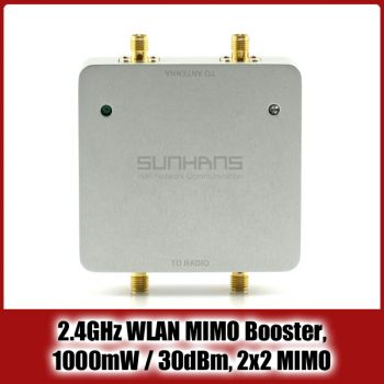 SUNHANS | 2.4 GHz WLAN Booster / Verstärker, 2x2 MIMO, 300MBit, 1000mW, 6dBi Antenne