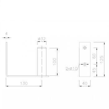 Verzinkte Antennenhalterung, 15cm x 10cm