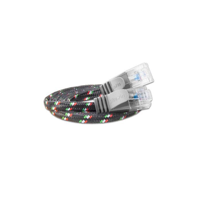 Justslim CAT.6 Netzwerkkabel / Patchkabel | TOUGH, UTP, 2 x RJ45, Nylon, Grau, 2.0m