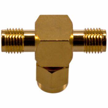 Unterseite Koaxial T-Stück SMA Stecker auf 2 x SMA Buchse