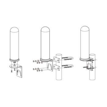 Montage-Zeichnung für die ALFA AOA-M4G Marine Antenne