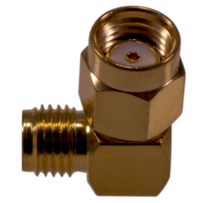 Koax Adapter RP-SMA Stecker auf SMA Buchse und 90° Winkel