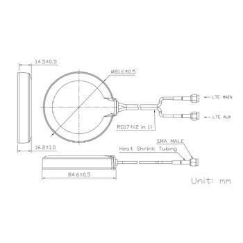 JCG305LM LTE Multiband Antenne - Zeichnung der Konstruktion