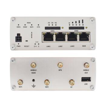 TELTONIKA RUTX11 - Sämtliche Anschlüsse für Antennen, Ethernet und für die Stromversorgung