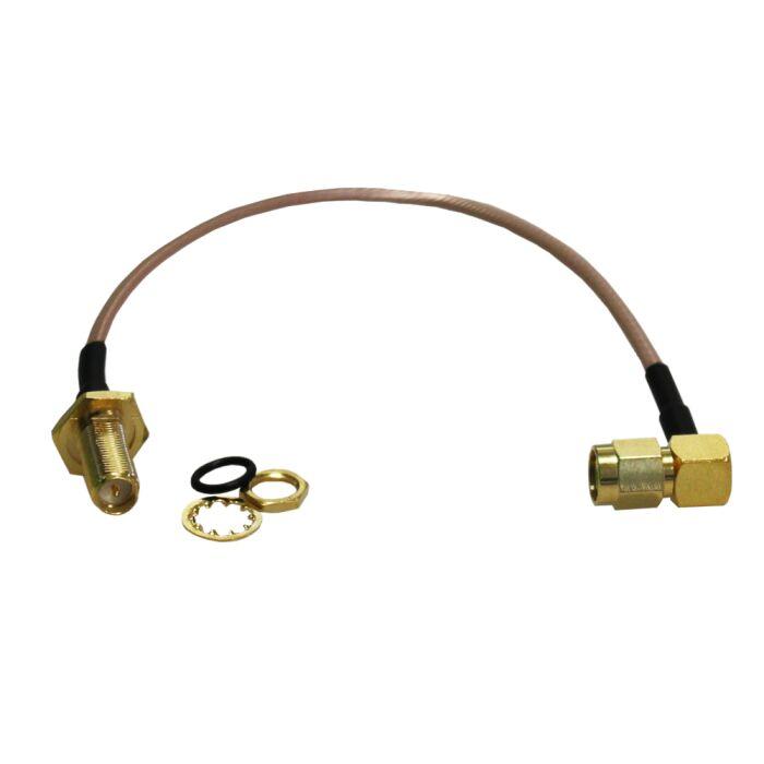 Koax Pigtail RP-SMA Stecker (Winkel) auf RP-SMA Buchse