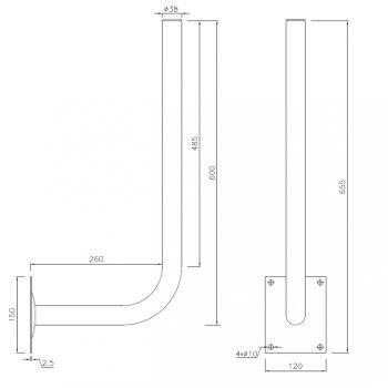 Verzinkte Antennenhalterung, 30cm x 60cm